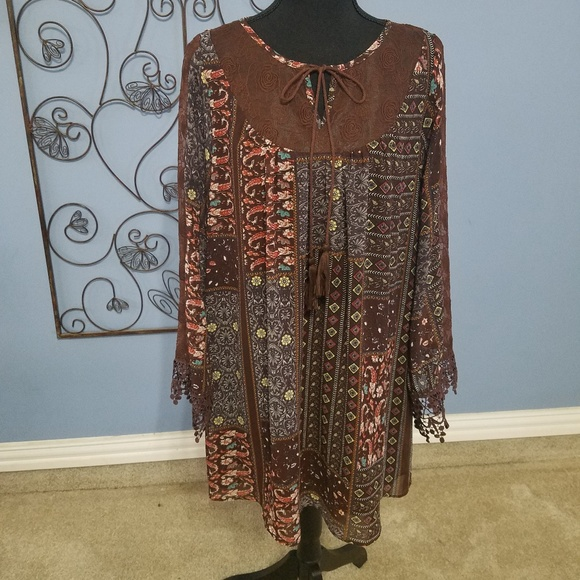 Altar'd State Dresses & Skirts - Altar'd State Boho Printed Lace Accent Dress